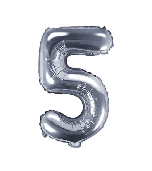 """Folienballon Zahl """"5"""" - silber - 35 cm"""