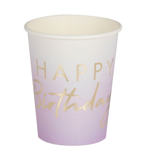 "Pappbecher ""Mix it up"" - Happy Birthday"" - ombre lavendel - 8 Stück"