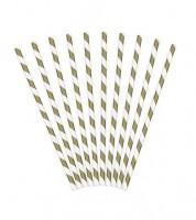 Papierstrohhalme gestreift - gold - 10 Stück