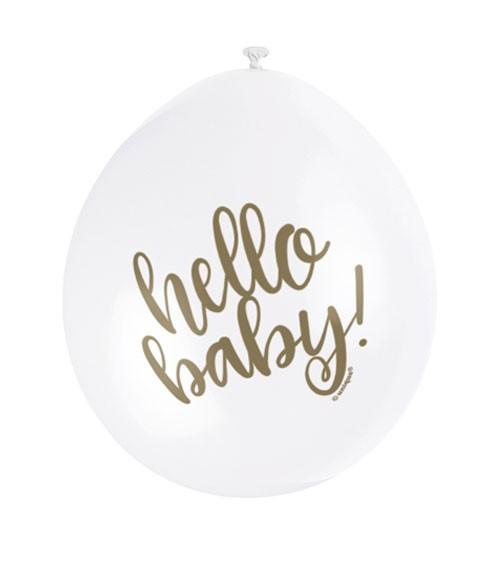 """Luftballons """"Hello Baby"""" - weiß/gold - 23 cm - 10 Stück"""