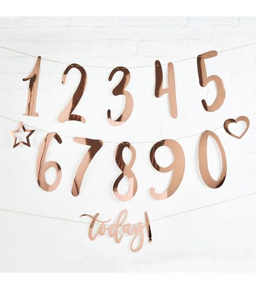 Individualisierbare Geburtstagsgirlande - rosegold - 25-teilig