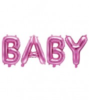 "Folienballon-Set ""BABY"" - pink - 35 cm"