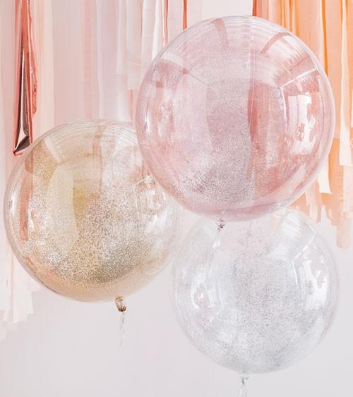 Transparente Glitter-Kugelballons - rosegold, gold, silber - 3-teilig