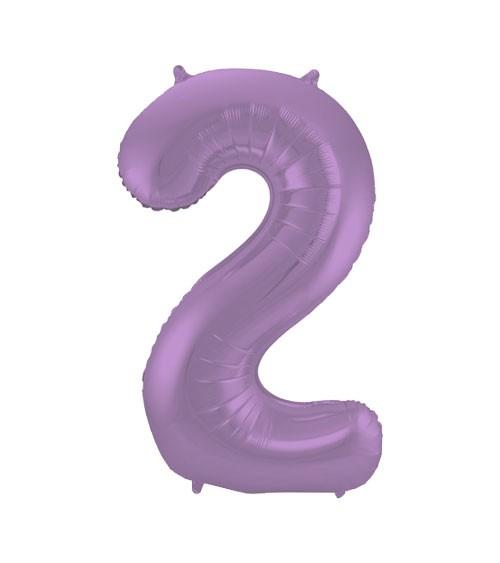 """Zahl-Folienballon """"2"""" - matt lila - 86 cm"""