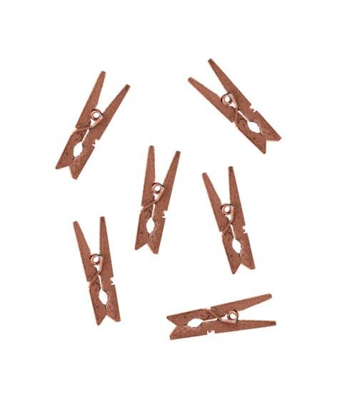 Kleine Wäscheklammern aus Holz- rosegold - 12 Stück