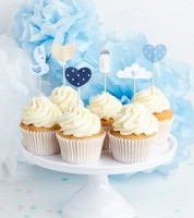 "Cake-Picks ""Oh Baby"" - blau - 6-teilig"