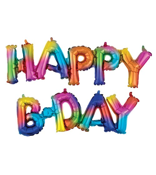 "Schriftzug-Folienballon ""Happy B-Day"" - bunt - 142 x 25 cm"