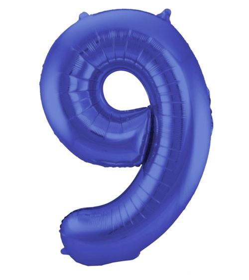 "Zahl-Folienballon ""9"" - matt blau - 86 cm"