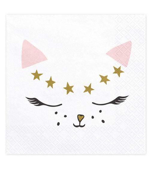"""Servietten """"Katze"""" - weiß, rosa - 20 Stück"""