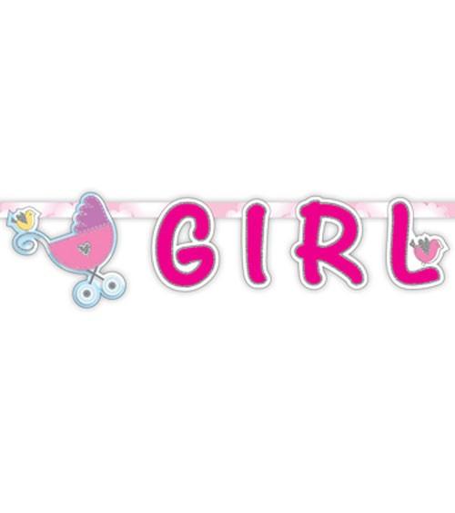 """Schriftzuggirlande mit Storch """"It's a Girl"""" - 1,7 m"""