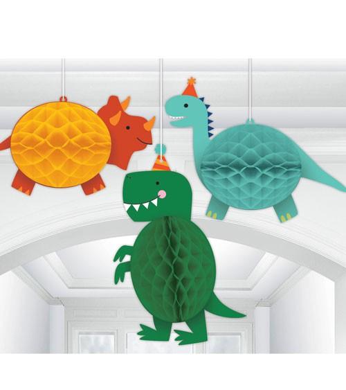 """Wabendekoration """"Happy Dino Birthday"""" - 3-teilig"""