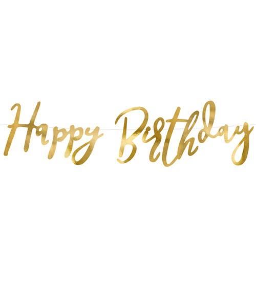 Happy Birthday-Girlande - gold - 62 cm