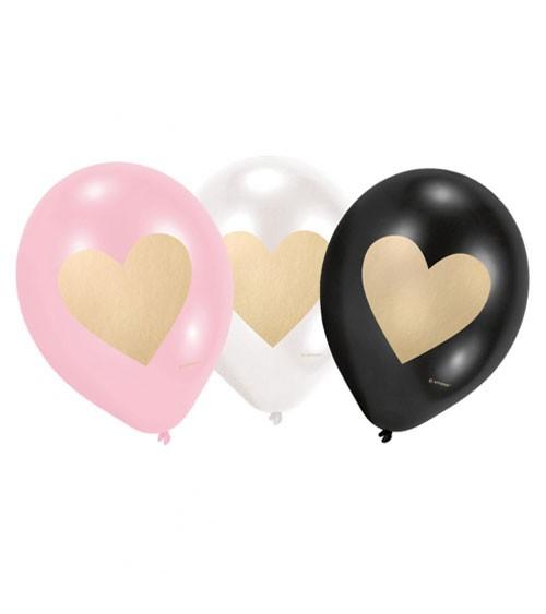 Luftballon-Set mit goldenen Herzen - weiß, schwarz, rosa - 6 Stück