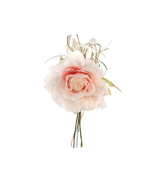 Stoffrose mit Spitze - rosa - 11 x 20 cm