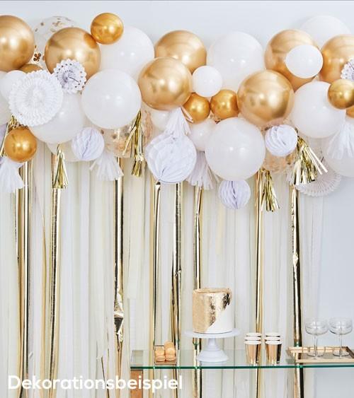 Ballongirlanden-Hängedeko-Set - weiß & gold - 98-teilig