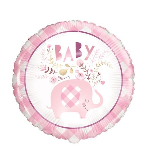 """Runder Folienballon """"Floral Elephant"""" - rosa - 45,7 cm"""