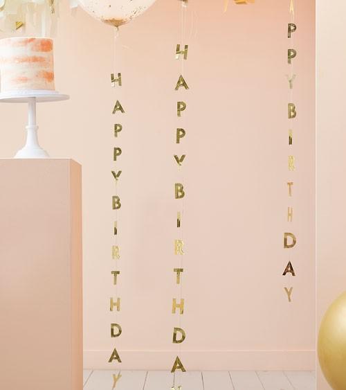 Vertikale Happy Birthday Girlanden - gold - 1 m - 5 Stück