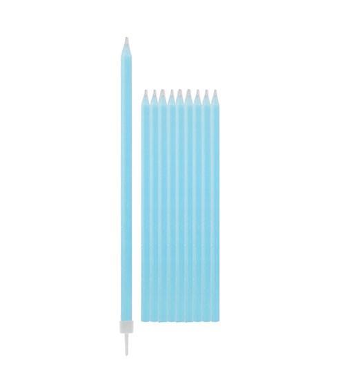 Lange Kuchenkerzen - hellblau - 15,5 cm - 10 Stück