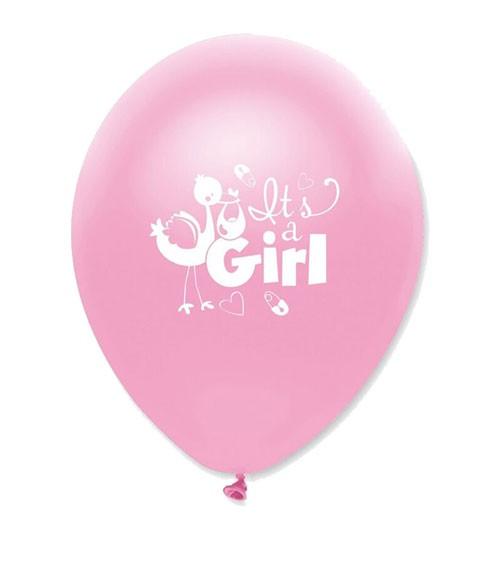 "Luftballons ""It's a Girl"" mit Storch - 6 Stück"