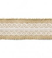 Jute-Band mit mittiger Spitze - 5 cm x 5 m