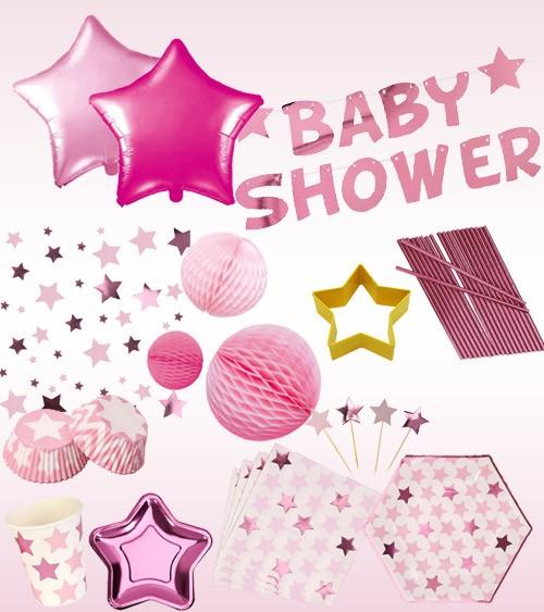 "Babyparty Deko-Set ""Little Star Pink"" - 51-teilig"