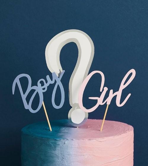 "Cake Topper aus Papier ""Boy ? Girl"" - 3-teilig"