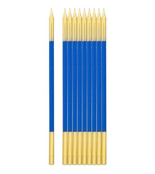 Lange Kuchenkerzen - gold & blau - 16 cm - 10 Stück