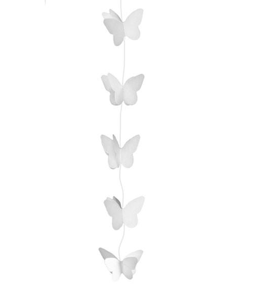 Kleine Schmetterlings-Girlande - weiß - 2 m