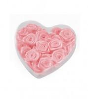 Satin-Rosen zum Streuen in Herzbox - rosa - 2 cm - 30 Stück