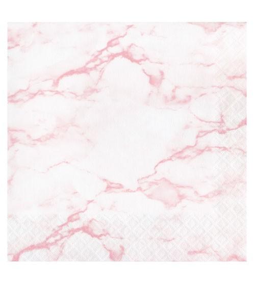 "Servietten ""Marble"" - rosa - 16 Stück"