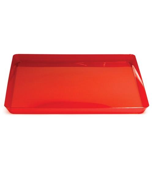 Quadratischer Servierteller - rot transparent - 29 x 29 cm