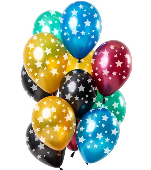 "Metallic-Luftballon-Set ""Sterne"" - bunt - 12-teilig"