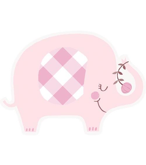"Einladungskarten ""Floral Elephant"" - rosa - 8 Stück"
