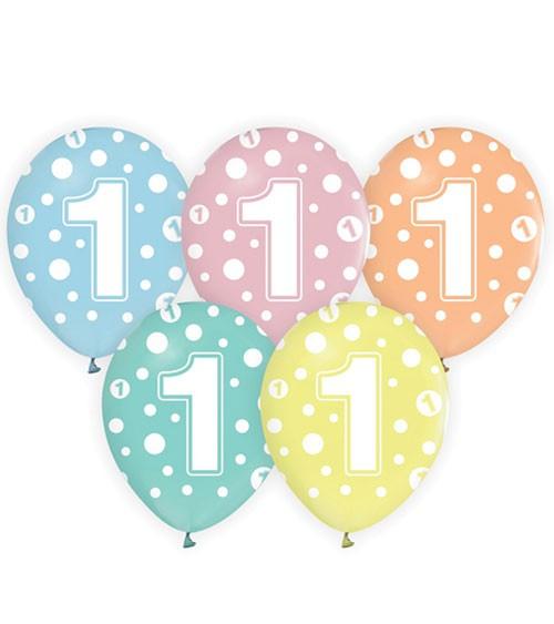 """Luftballon-Set """"1"""" - pastell mit Punkten - 5-teilig"""
