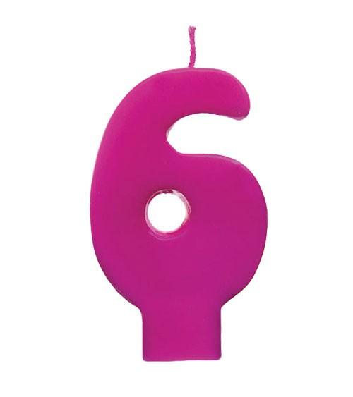 """Geburtstagskerze """"6"""" - pink"""