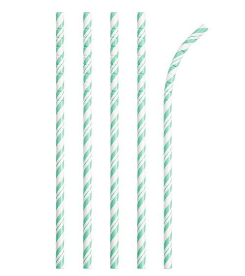 Flexible Papierstrohhalme mit Streifen - mint - 24 Stück