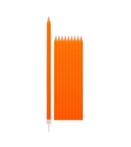 Lange Kuchenkerzen - orange - 15,5 cm - 10 Stück