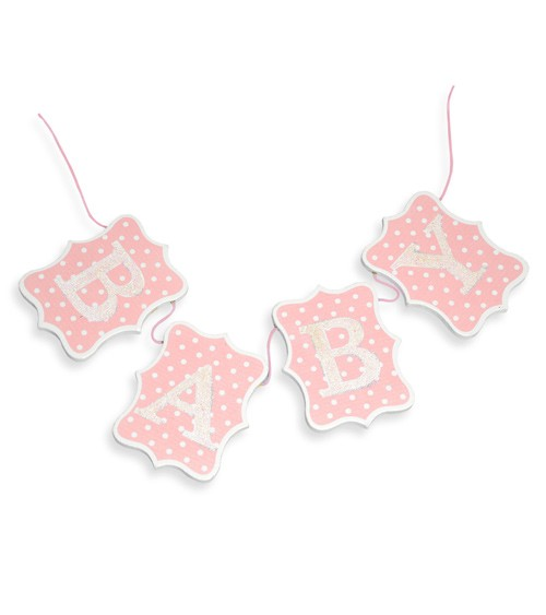 "Holzgirlande ""Baby"" - rosa - 60 cm"