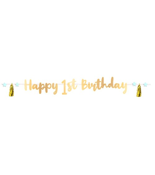 Happy 1st Birthday-Girlande mit Tasseln - gold - 1,8 m