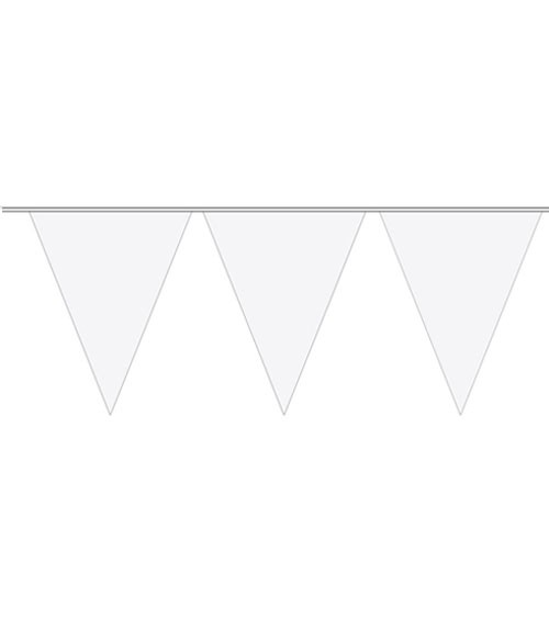 Wimpelgirlande aus Kunststoff - weiß - 10m