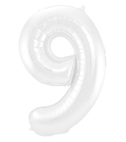 """Zahl-Folienballon """"9"""" - matt weiß - 86 cm"""