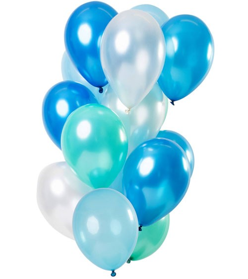 "Metallic-Luftballon-Set ""Blue Azure"" - 15-teilig"