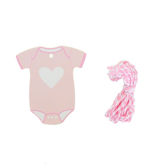 """Geschenkanhänger """"Babybody"""" - rosa - 7 cm - 12 Stück"""