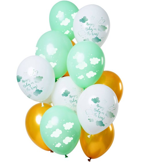 "Luftballon-Set ""Baby on the Way"" - Mint, Weiß, Gold - 12-teilig"