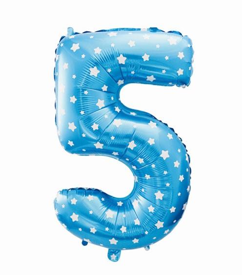 "Folienballon Zahl ""5"" - blau mit Sternen - 61 cm"
