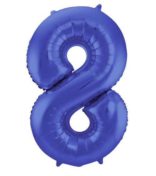 "Zahl-Folienballon ""8"" - matt blau - 86 cm"