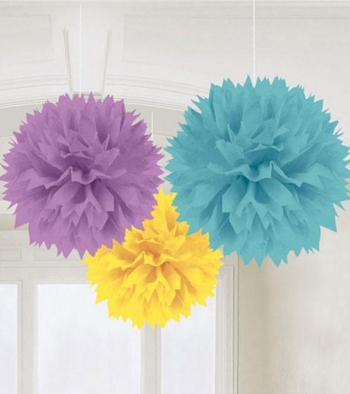 Pom Pom Set - gelb, türkis, lavendel - 3-teilig