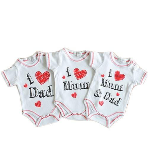 """Babyparty-Geschenk-Set Bodys """"I love Mum & Dad"""" - 3-teilig"""