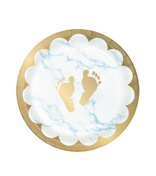 """Kleine Pappteller """"Marble"""" - Babyfüßchen - hellblau - 8 Stück"""