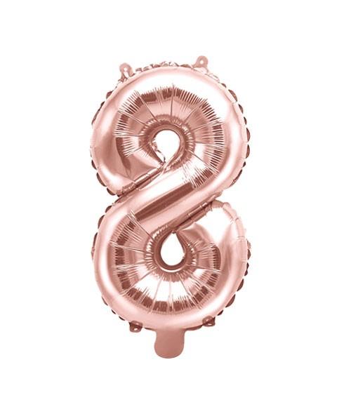 "Folienballon Zahl ""8"" - rosegold - 35 cm"